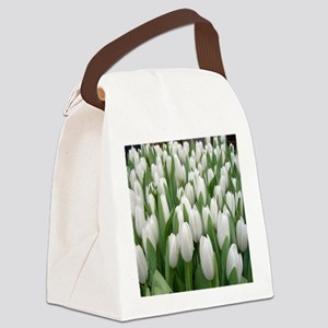 White Tulips Canvas Lunch Bag