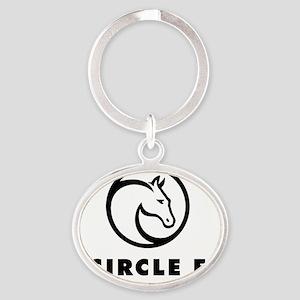 Circle f logo black Oval Keychain