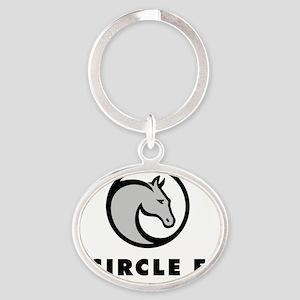 Circle f logo grey Oval Keychain
