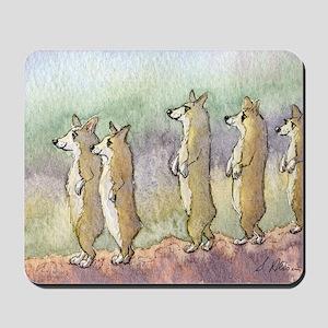 Corgi dogs having a meerkat moment Mousepad