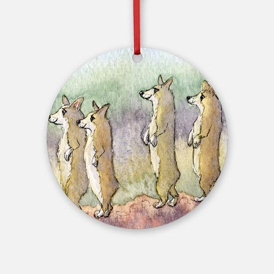 Corgi dogs having a meerkat moment Round Ornament