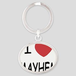 I heart mayhem Oval Keychain