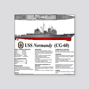 "USS Normandy CG-60 Square Sticker 3"" x 3"""