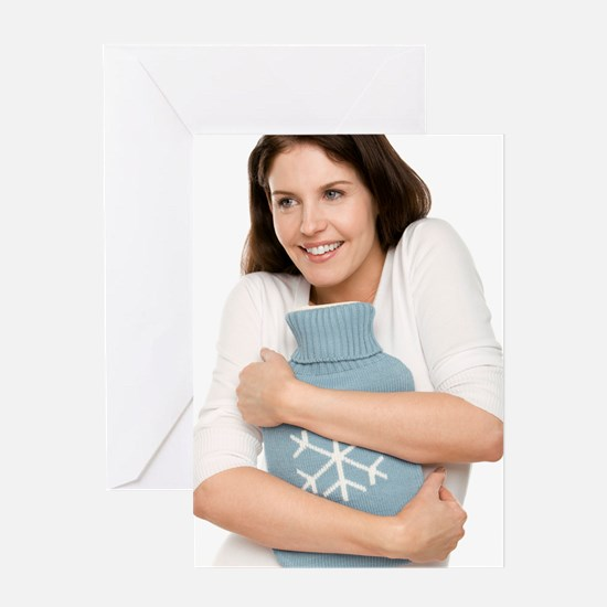 Woman with a hot water bottle Greeting Card