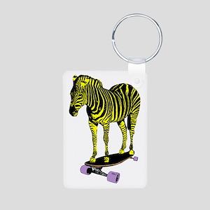 zebra skate Aluminum Photo Keychain