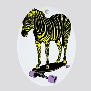 zebra skate Oval Ornament