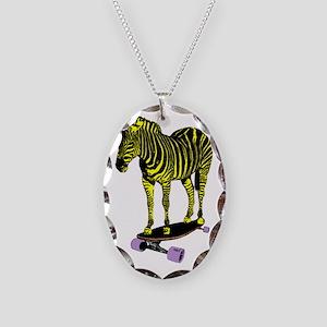 zebra skate Necklace Oval Charm