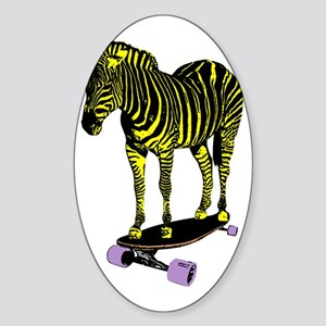 zebra skate Sticker (Oval)