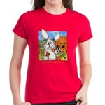 Cartoon Rabbit Carrot Women's Dark T-Shirt