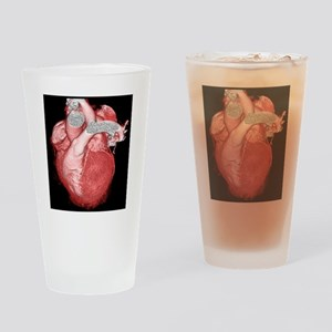 Healthy heart, 3D CT scan Drinking Glass