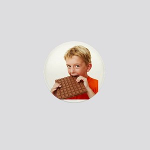 Boy eating chocolate Mini Button