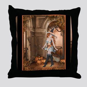 Beautiful Fall Witch 1 Throw Pillow