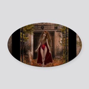 Shes Awake Oval Car Magnet