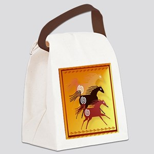 Three Ancient Horses Canvas Lunch Bag