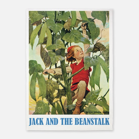 Jack and the Beanstalk_blue 5'x7'Area Rug