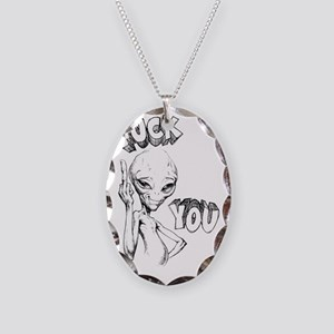 Paul the Alien F You Necklace Oval Charm