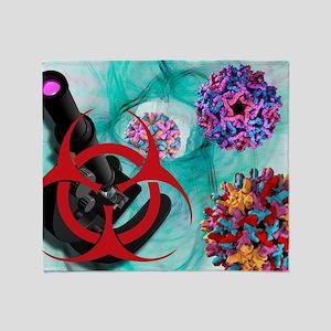 Viral pathogens, conceptual artwork Throw Blanket
