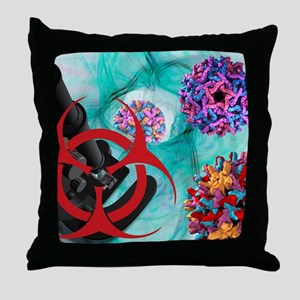 Viral pathogens, conceptual artwork Throw Pillow