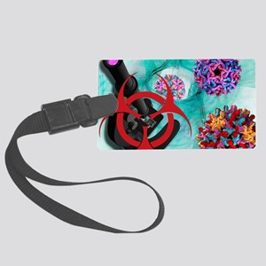 Viral pathogens, conceptual artw Large Luggage Tag