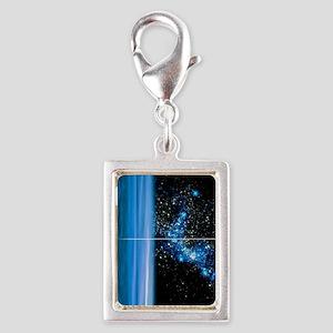 Uranus and star cluster, art Silver Portrait Charm