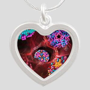 Viral infection, conceptual  Silver Heart Necklace