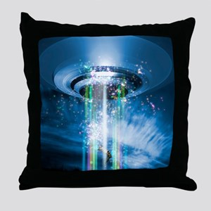 UFO human abduction, conceptual artwo Throw Pillow