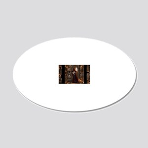 Witch in Library 20x12 Oval Wall Decal