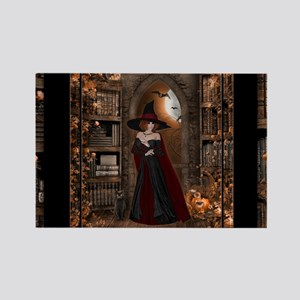 Witch in Library Rectangle Magnet