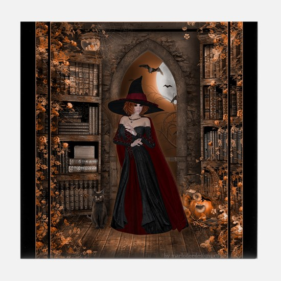 Witch in Library Tile Coaster