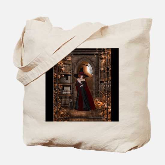 Witch in Library Tote Bag