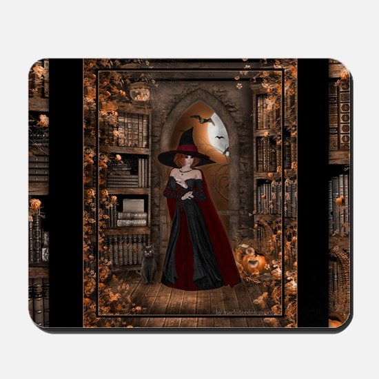 Witch in Library Mousepad