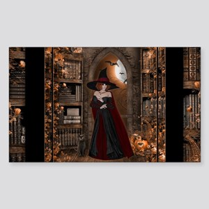 Witch in Library Sticker (Rectangle)