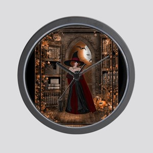Witch in Library Wall Clock