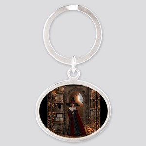 Witch in Library Oval Keychain