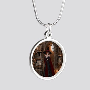 Witch in Library Silver Round Necklace