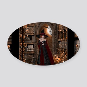 Witch in Library Oval Car Magnet