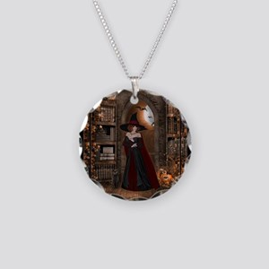 Witch in Library Necklace Circle Charm