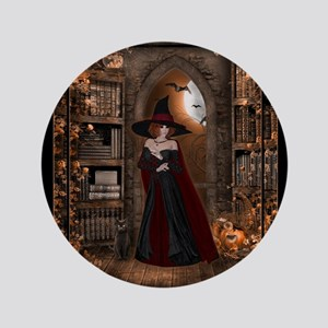 """Witch in Library 3.5"""" Button"""