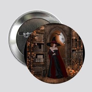 """Witch in Library 2.25"""" Button"""