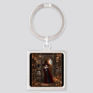 Witch in Library Square Keychain