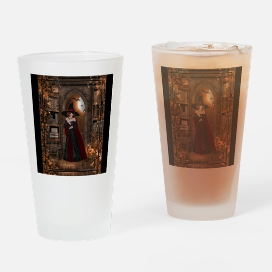 Witch in Library Drinking Glass