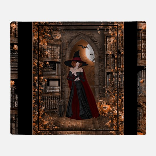 Witch in Library Throw Blanket