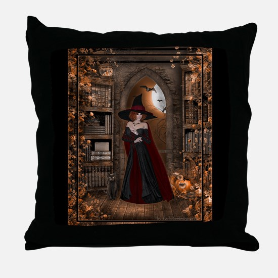 Witch in Library Throw Pillow