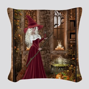 Witch with Candle Woven Throw Pillow