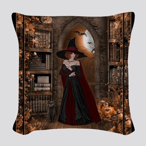 Witch in Library Woven Throw Pillow