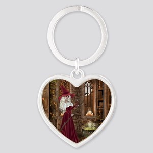 Witch with Candle Heart Keychain
