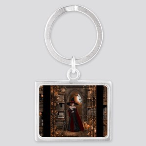 Witch in Library Landscape Keychain