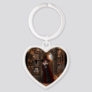 Witch in Library Heart Keychain