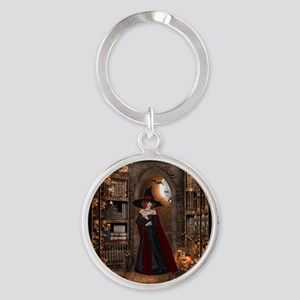 Witch in Library Round Keychain