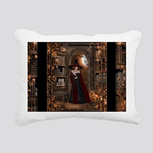 Witch in Library Rectangular Canvas Pillow